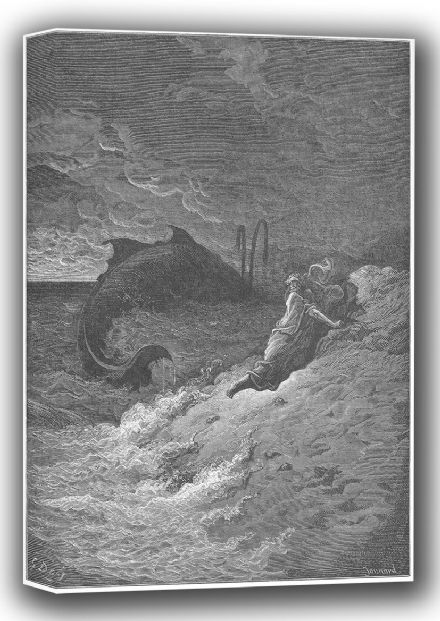 Dore, Gustave: Jonah Cast Forth by the Whale (Illustration from Dore's 'The Holy Bible'). Fine Art Canvas. Sizes: A4/A3/A2/A1 (001832)